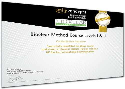 image of a bioclear course certificate